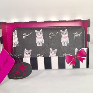 Betsey Johnson Zip Around Wallet with Gift Box Cat